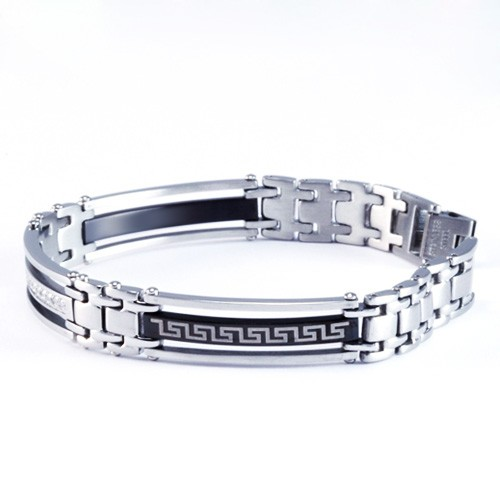 8.5 Inch Modern Mens Titanium Bracelet with Greek Pattern design and CZ Stone Accents. Silver Plated