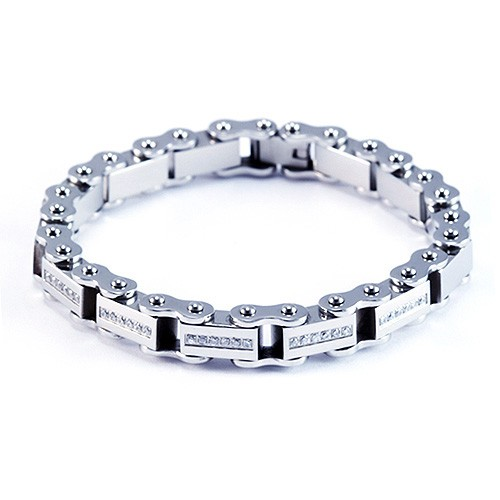 8.5 Inch Modern Mens Titanium Bracelet with Pave Set Set CZ Stone Accents. Silver Plated