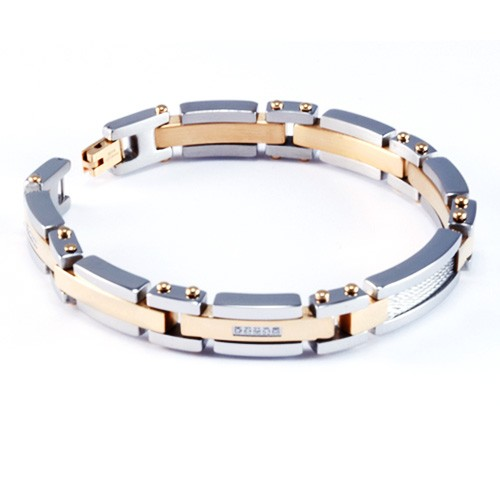 8.5 Inch Modern Mens 2-Tone 18KT Gold Plated Titanium Bracelet with CZ Stone and Steel Cable Accents. Silver Plated