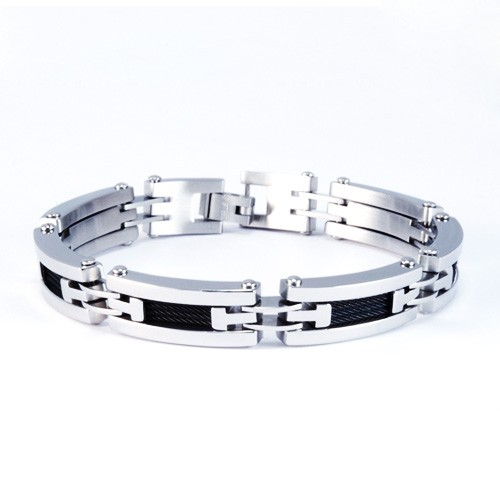 8.5 Inch Modern Mens Titanium Bracelet with Black Cable  Accents. Silver Plated