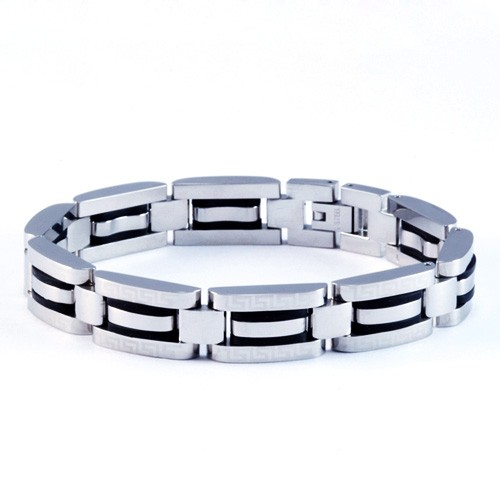 8.5 Inch Modern Mens Titanium Bracelet with Greek Pattern design and Rubber Inlay Accents. Silver Plated