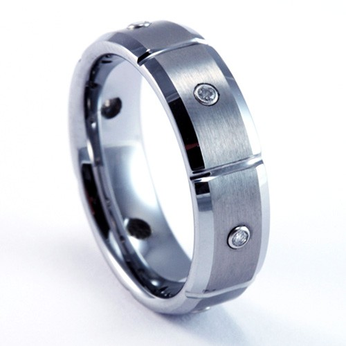 7mm Mens / Woman's Tungsten Carbide Wedding Band / Ring with Diamond Accents