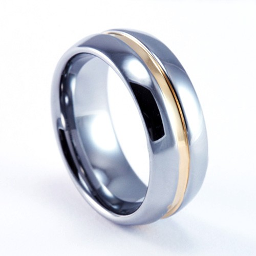 8mm Mens / Woman's Tungsten Carbide Wedding Band / Ring with 18KT Plated 2-Tone Design
