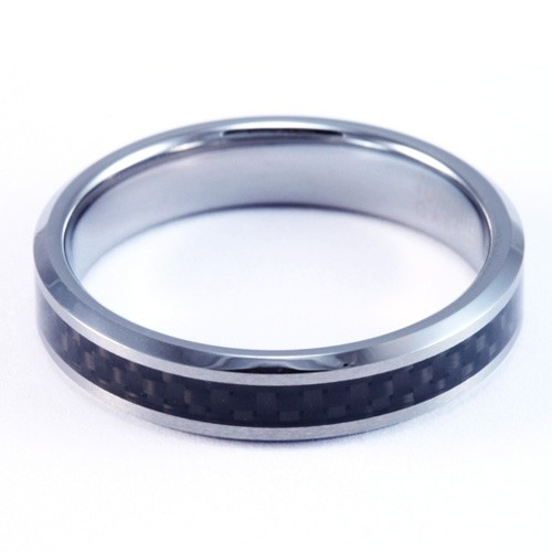 4mm Mens Womans Tungsten Carbide Wedding Band Ring With Carbon Fiber Inlay FJK DS 005