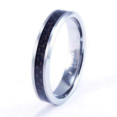 4mm Mens / Woman's Tungsten Carbide Wedding Band / Ring with Carbon Fiber Inlay
