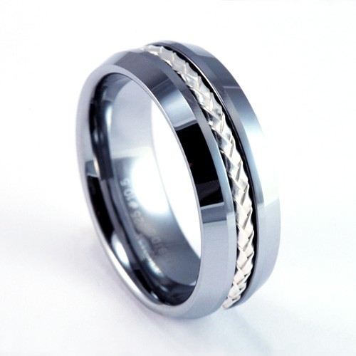 8mm mens womans tungsten carbide wedding band ring with 925 silver braided inlay - Tungsten Carbide Wedding Rings