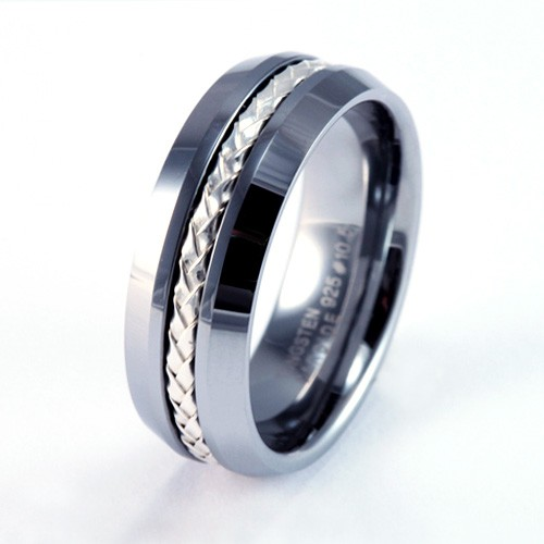 Mens Wedding Tungsten Rings, Bands amp; Earrings With Black Diamonds