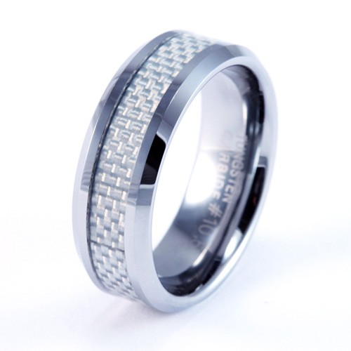 8mm Mens / Woman's Tungsten Carbide Wedding Band / Ring with White Carbon Fiber Inlay