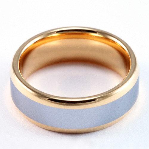 8mm Mens / Woman's Tungsten Carbide Wedding Band / Ring with 18KT Gold Plated 2-Tone