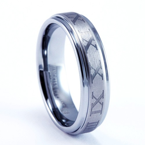 6mm Mens / Woman's Tungsten Carbide Ring with Classic Roman Numeral Laser Engraved Design