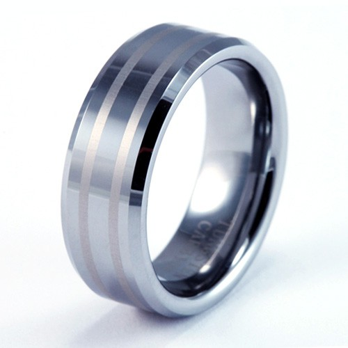 8mm Mens / Woman's Tungsten Carbide Wedding Band / Ring with Striped Brush Design