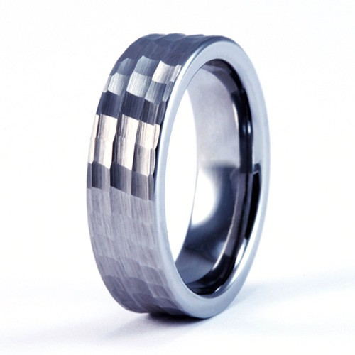 8mm Mens Womans Tungsten Carbide Wedding Band Ring With Hammer Pattern Brushed Design FJK