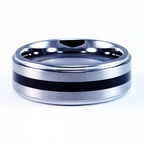 8mm Mens / Woman's Tungsten Carbide Wedding Band / Ring with Black Resin Inlay