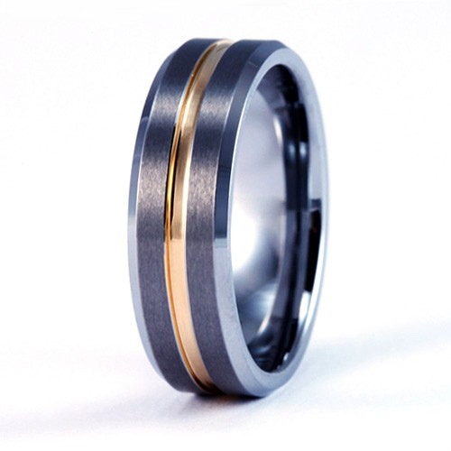 8mm Mens / Woman's Tungsten Carbide Wedding Band / Ring with 18Kt Gold 2-Tone Design