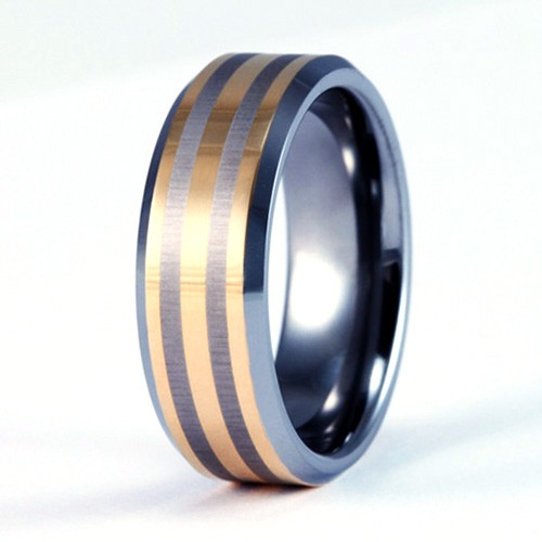 8mm Mens / Woman's Tungsten Carbide Wedding Band / Ring with 18KT Gold Plated Stripes