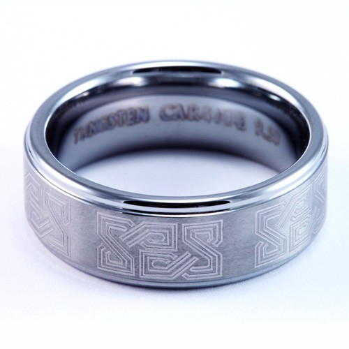 8mm Mens / Woman's Tungsten Carbide Wedding Band / Ring with Classic Celtic Laser Engraved Design