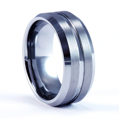 8mm Mens / Woman's Tungsten Carbide Wedding Band / Ring with Brushed and Polish Finish
