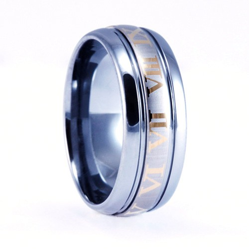 9mm Mens / Woman's Tungsten Carbide Ring with 18KT Gold Plated Roman Numeral Design