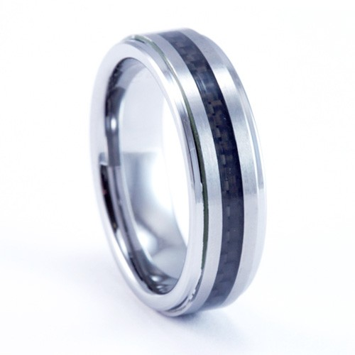 8mm Mens / Woman's Tungsten Carbide Wedding Band / Ring with Black Carbon Fiber Inlay Design