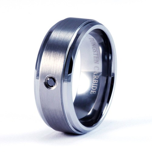 8mm mens s tungsten carbide ring with brushed