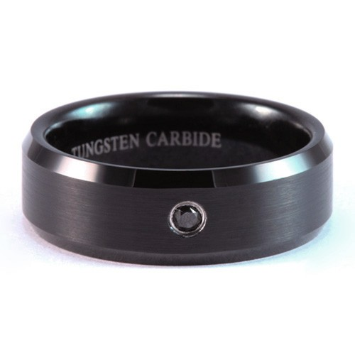 8mm Mens Woman s Black Tungsten Carbide Wedding Band Ring with Black