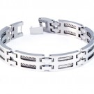 8.5 Inch Modern Mens Titanium Bracelet with Steel Cable Accents. Silver Plated