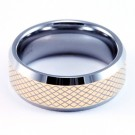 8mm Mens / Woman's Tungsten Carbide Wedding Band / Ring with 18KT Gold Plated Pattern