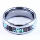 8mm Mens / Woman's Tungsten Carbide Ring with Dark Mother of Pearl / Abalone Inlay Design