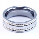 8mm Mens / Woman's Tungsten Carbide Wedding Band / Ring with Pure .925 Braided Silver Inlay Spinners