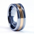8mm Mens / Woman's Tungsten Carbide Wedding Band / Ring with 18KT Gold Plate Center