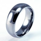 8mm Mens / Woman's Tungsten Carbide Wedding Band / Ring with Laser Engraved Cross Design