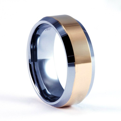 8mm Mens Woman S Tungsten Carbide Wedding Band Ring With 18kt Gold Plated 2